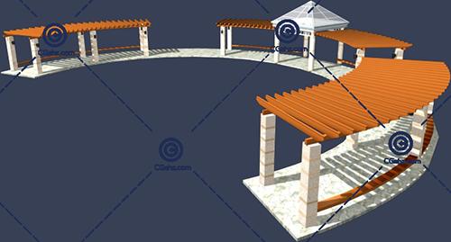 带亭子的景观廊架3D模型免费下载