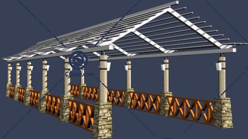屋顶形状的景观廊架3D模型下载