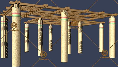 结构较为复杂的景观廊架3D模型下载