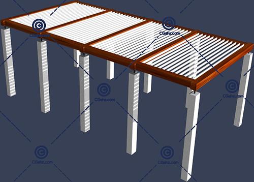 木制景观廊架3D模型免费下载