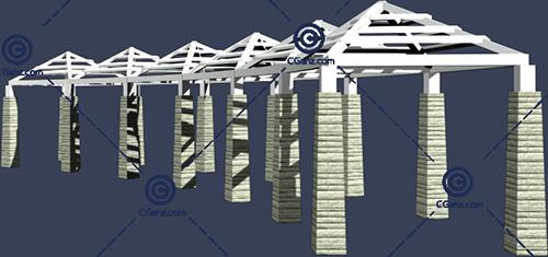 尖塔形景观廊架3D模型下载