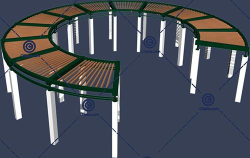圆环形景观廊架3D模型下载