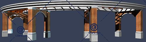 圆形景观廊架3D模型下载
