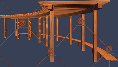 纯木质景观廊架3D模型下载