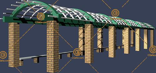 圆弧形公园廊架3D模型下载