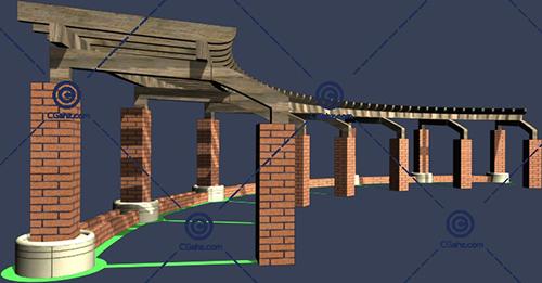带砖头柱子的景观廊架3D模型免费下载