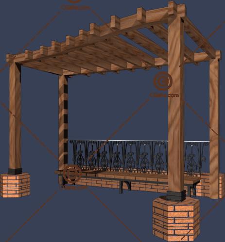 带有坐凳,栏杆的景观廊架3D模型下载