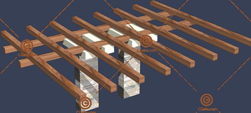 木头景观廊架3D模型下载