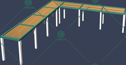 L形景观廊架3D模型免费下载