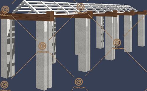 多种材料的景观廊架3D模型下载