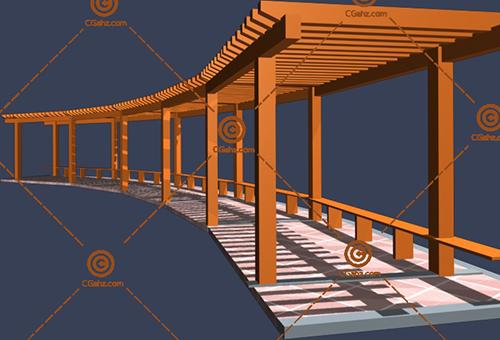 带坐凳的木制景观廊架3D模型免费下载