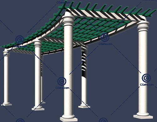带石柱底座的景观廊架3D模型免费下载