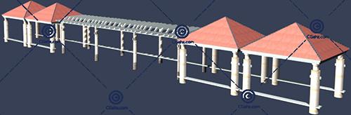 花架,亭子3D模型下载