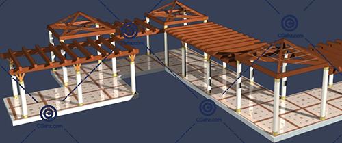 多种材质组合景观廊架的3D模型下载