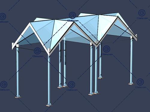 三角形组合的景观廊架3D模型下载