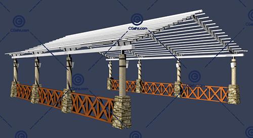 多种材料的小区景观廊架3D模型下载