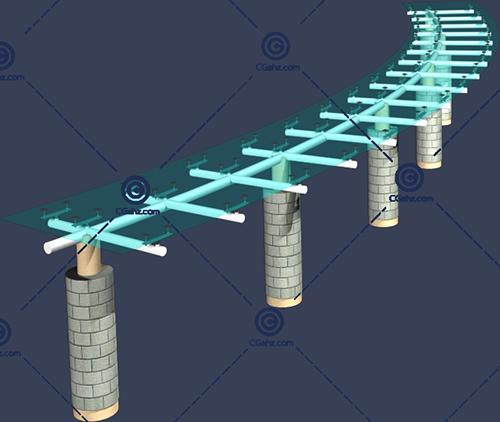 弧形的玻璃景观廊架3D模型下载