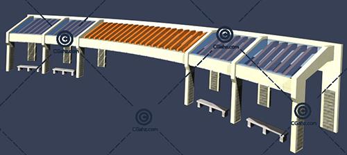 梯形的景观廊架3D模型免费下载
