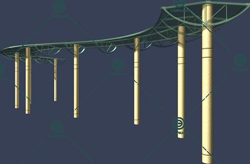 S形景观廊架3D模型下载