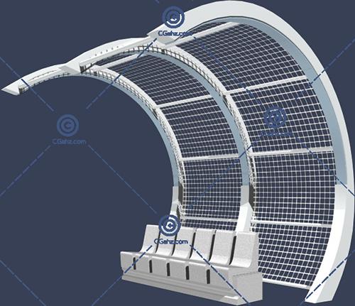 带座椅的景观廊架3D模型免费下载