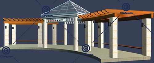 带玻璃亭子的景观廊架3D模型免费下载