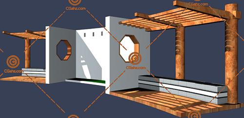 带坐凳,结构复杂的景观廊架3D模型下载