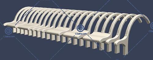 带有缝隙的圆弧形景观廊架3D模型免费下载