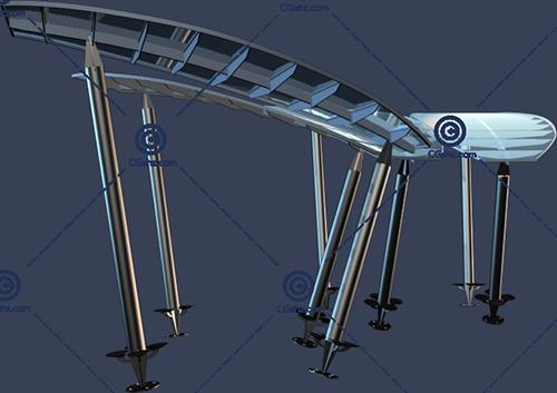 造型奇特的景观廊架3D模型免费下载