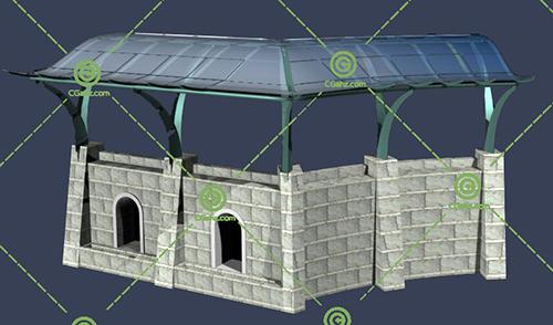 带围墙的景观廊架3D模型下载