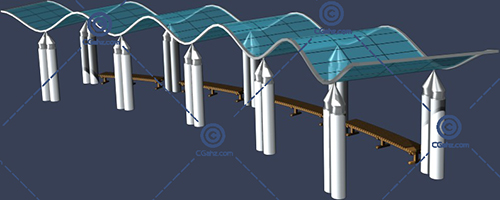 波浪形景观廊架3D模型下载