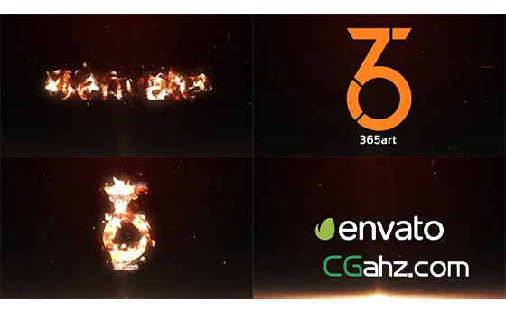 火焰将logo逐渐燃烧殆尽的优雅标志特效AE模板