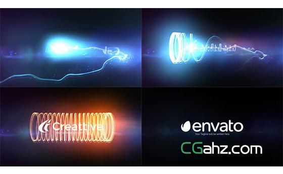 能量条纹炫光揭示出logo标志的AE模板