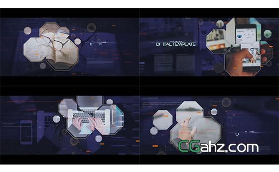 数字科技风格的六边形内容展示AE模板