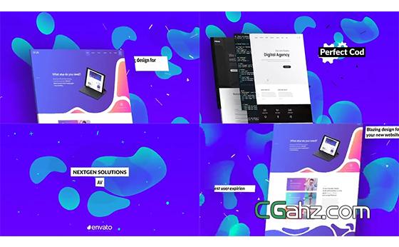 色彩时尚缤纷的手机APP或网站宣传AE模板