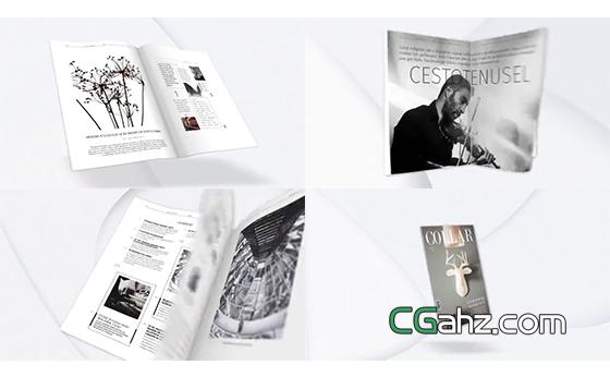 书籍或杂志的样机演示宣传动画AE模板