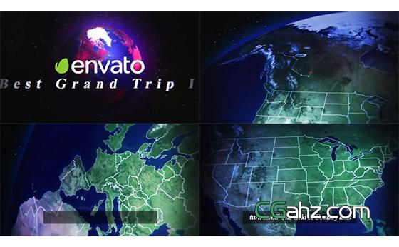 自然風景和地球地圖疊加展示的旅游主題片頭AE模板