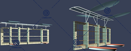 两个带顶棚的景观廊架3D模型下载