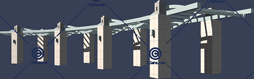 带有波浪形顶棚的景观廊架3D模型下载