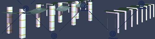 带顶棚的小区景观廊架3D模型下载