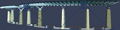 带坐凳的圆弧形景观廊架3D模型下载