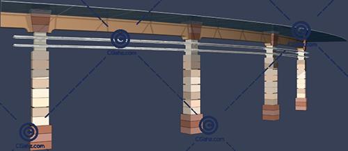 带玻璃雨棚的景观廊架3D模型下载