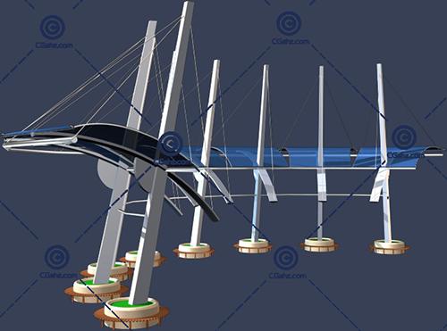 带玻璃顶棚的圆弧形景观廊架3D模型下载