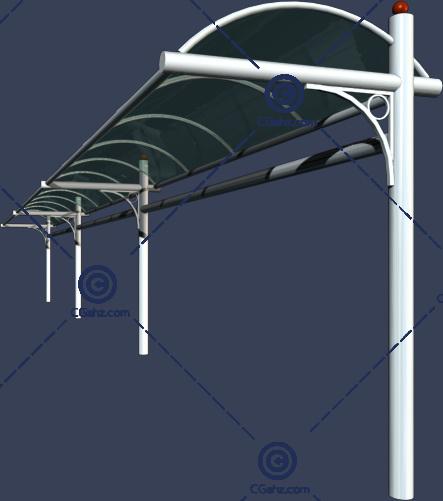 带圆弧形玻璃雨棚的景观廊架3D模型下载