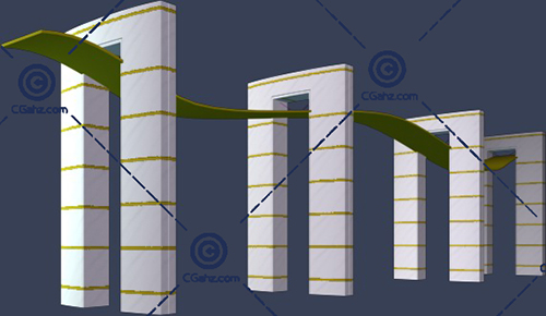 带石柱的小区景观廊架3D模型免费下载