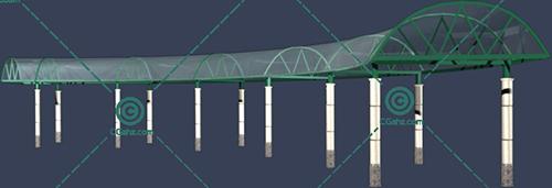 带有半圆形玻璃顶棚的景观廊架3D模型下载