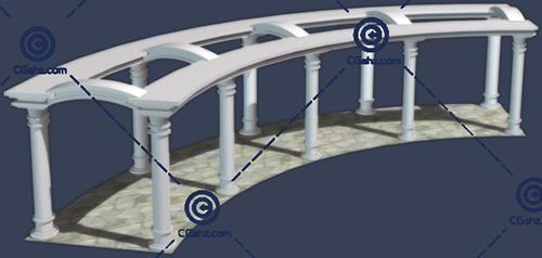 石材结构的景观廊架3D模型免费下载