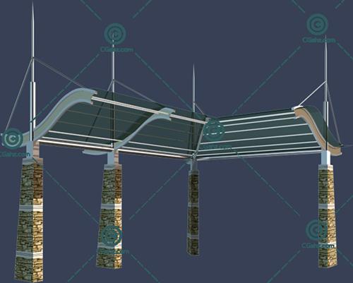 带玻璃顶棚的景观廊架3D模型下载
