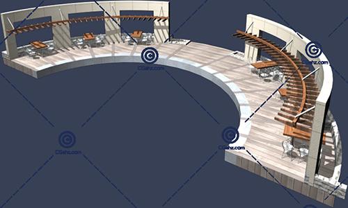 带桌椅的景观廊架3D模型免费下载
