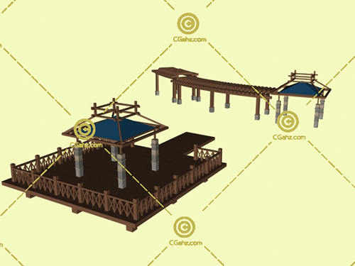 景观廊架亭子组合3D模型免费下载