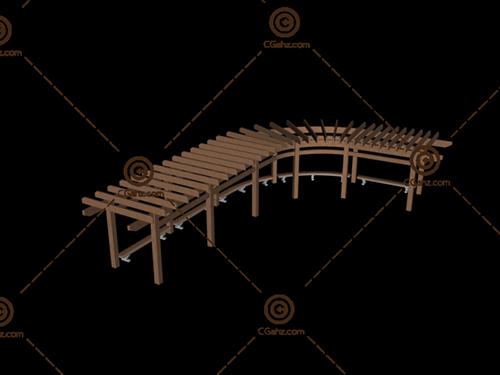 弯曲的景观廊架3D模型下载